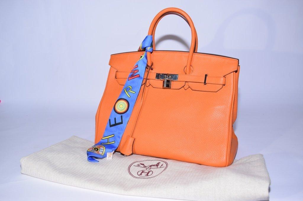 2010 Hermes Orange Epsom Leather Birkin Handbag