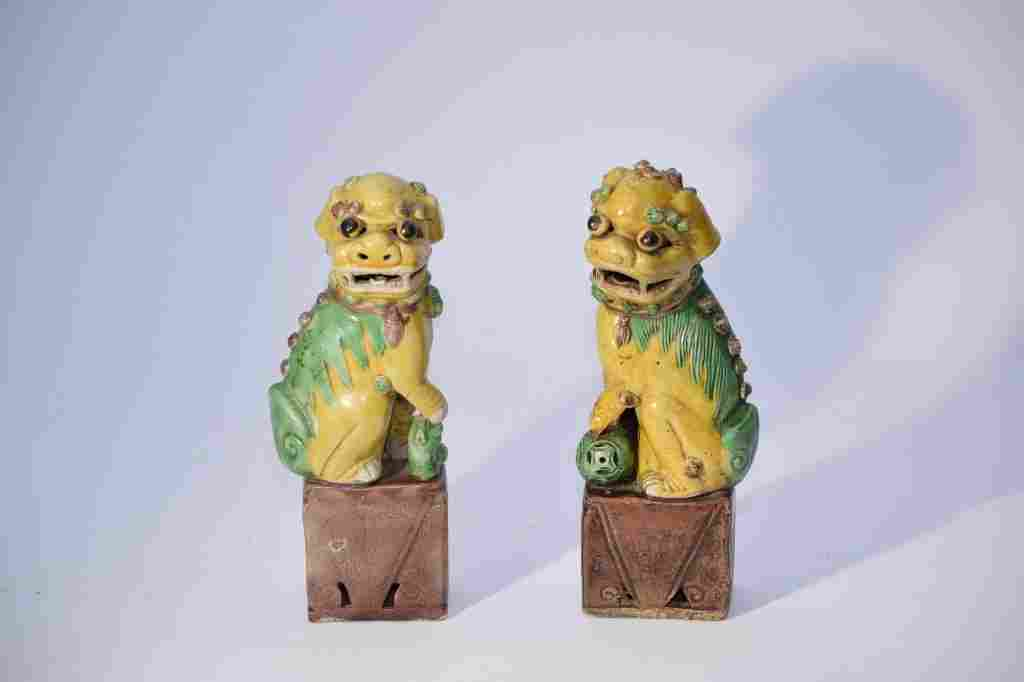 Pair of Chinese Sancai Lions