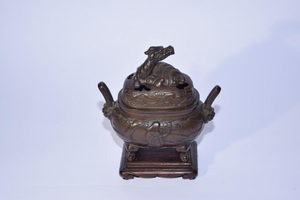 Japanese Bronze Covered Incense Burner