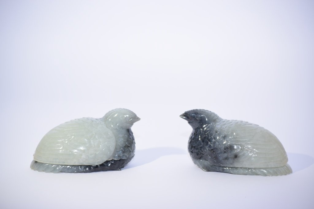 Pair of Qing Chinese Black & White Jade Quail Boxes