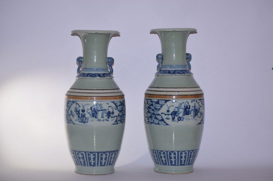 Pair of 18-19th C. Chinese Pea Glaze B&W Vases
