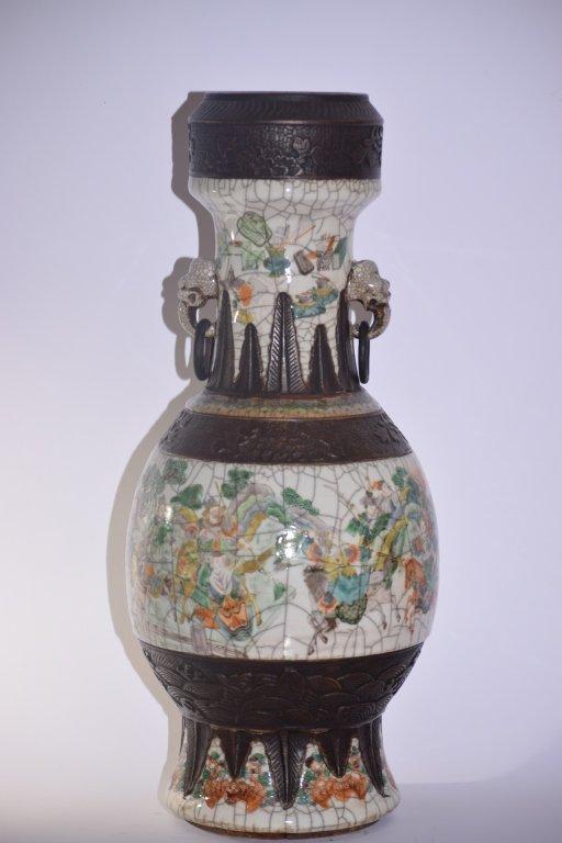 Large 19th C. Chinese Faux Ge Glaze Vase
