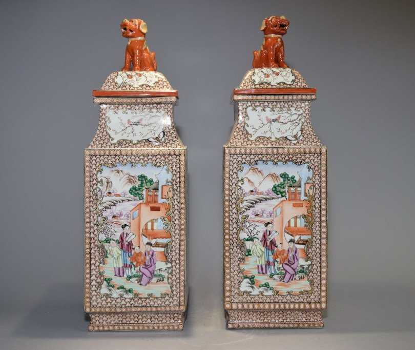 Pair of 18th C. Chinese Export Famille Rose Vases