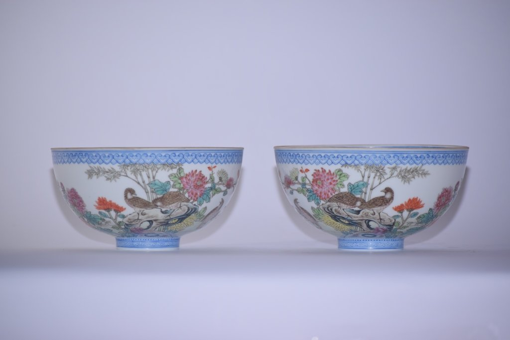 Pair of Republic Chinese Famille Rose Egg Shell Bowl