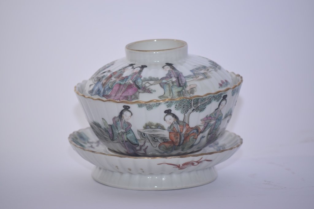 XianFeng Chinese Famille Rose Covered Tea Cup