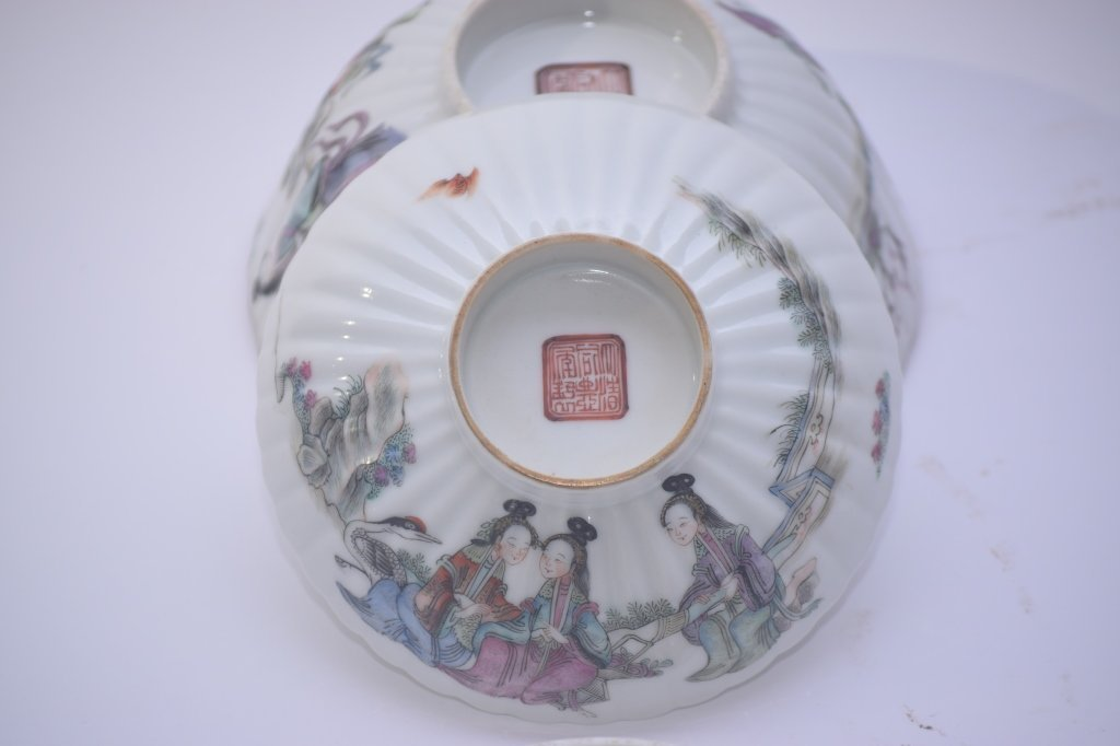 XianFeng Chinese Famille Rose Covered Tea Cup - 8