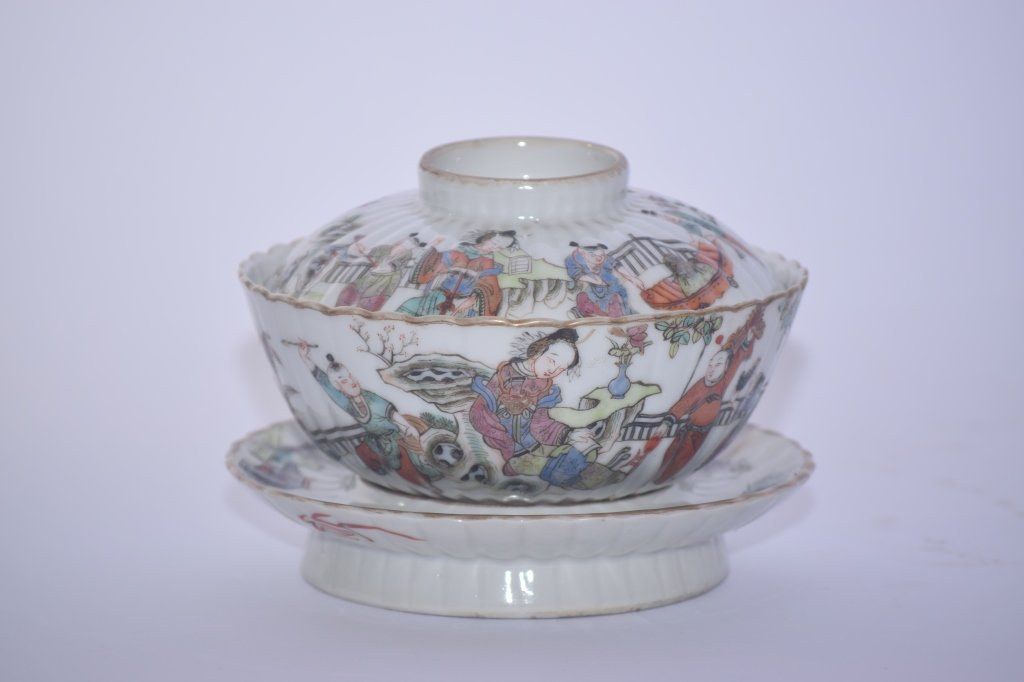 TongZhi Chinese Famille Rose Covered Tea Cup