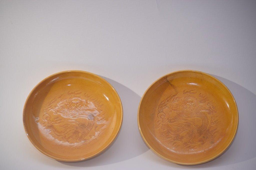 Pair of 19th C. Chinese Yellow Glaze Plates