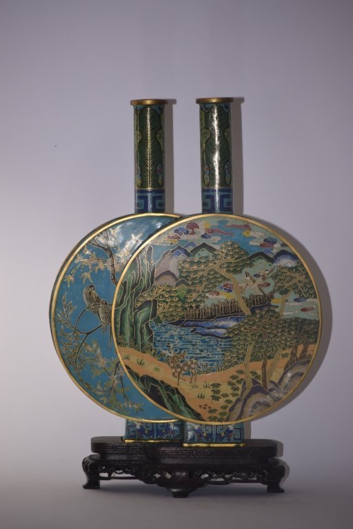 18th C. Chinese Cloisonne Double Vase with Zitan Stand