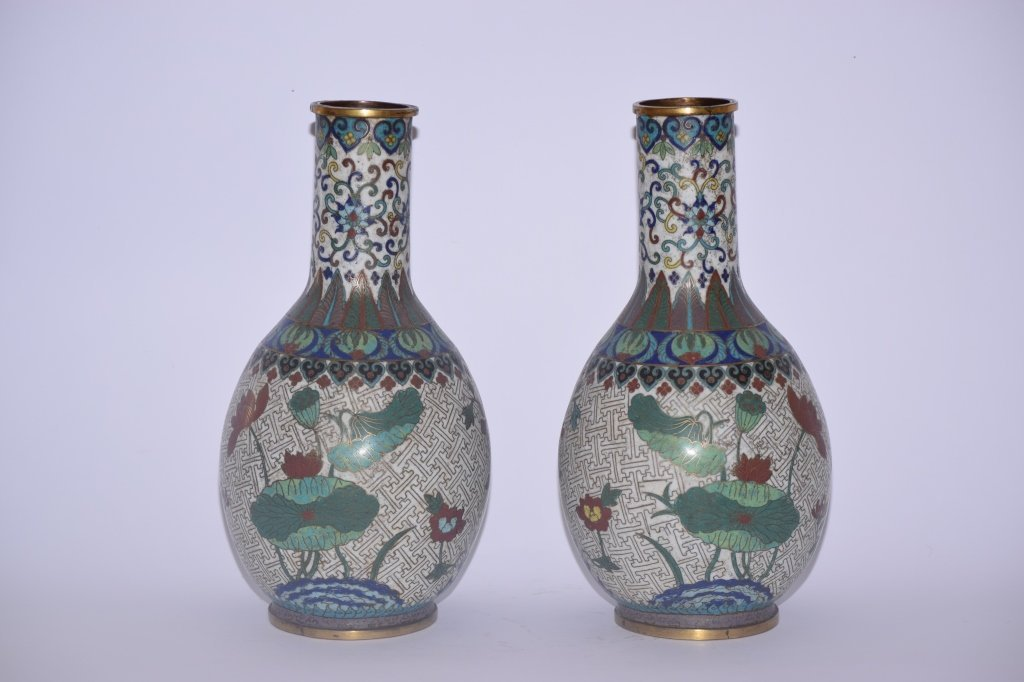 Pair of 19th C. Chinese Cloisonne Vases
