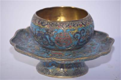 Ming Chinese Cloisonne Tea Cup Saucer Stand