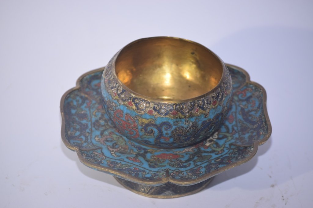 Ming Chinese Cloisonne Tea Cup Saucer Stand - 3