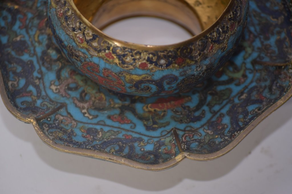 Ming Chinese Cloisonne Tea Cup Saucer Stand - 4
