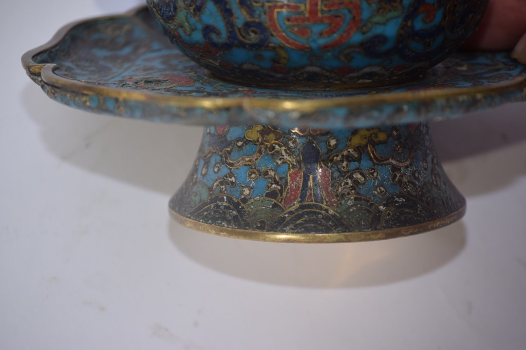 Ming Chinese Cloisonne Tea Cup Saucer Stand - 5