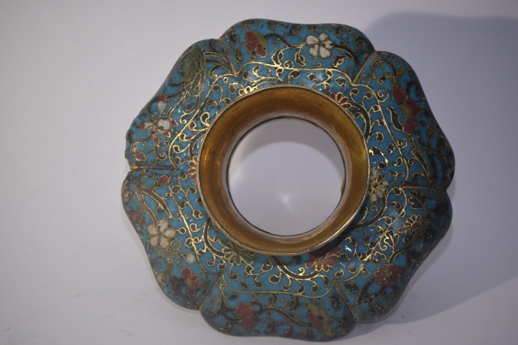 Ming Chinese Cloisonne Tea Cup Saucer Stand - 6