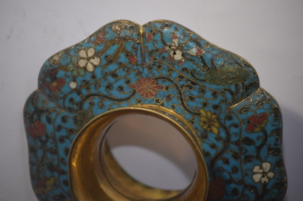 Ming Chinese Cloisonne Tea Cup Saucer Stand - 7