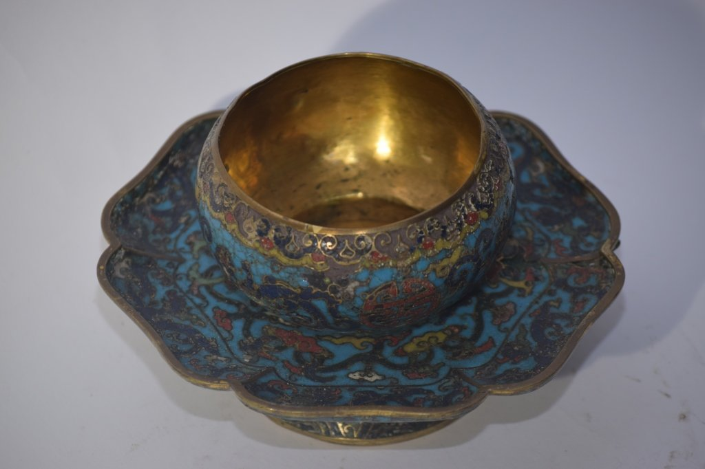 Ming Chinese Cloisonne Tea Cup Saucer Stand - 8