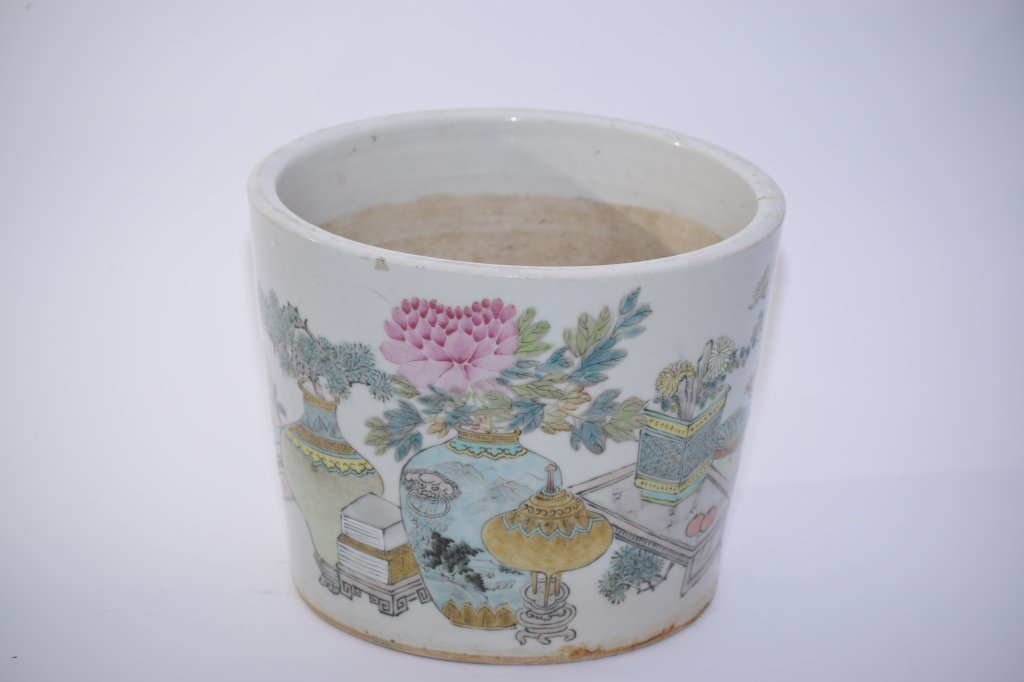 19th C. Chinese Famille Verte Flower Pot, Xu PinHeng