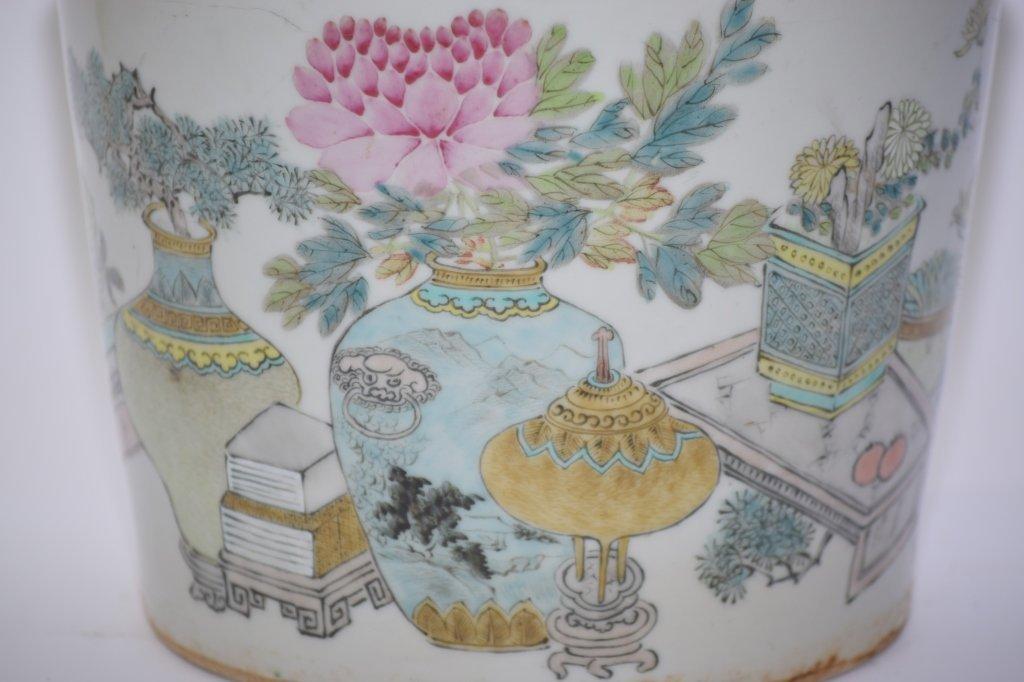 19th C. Chinese Famille Verte Flower Pot, Xu PinHeng - 2