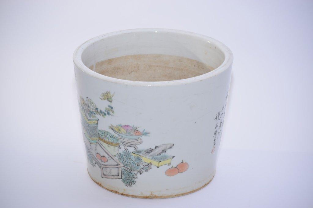 19th C. Chinese Famille Verte Flower Pot, Xu PinHeng - 3