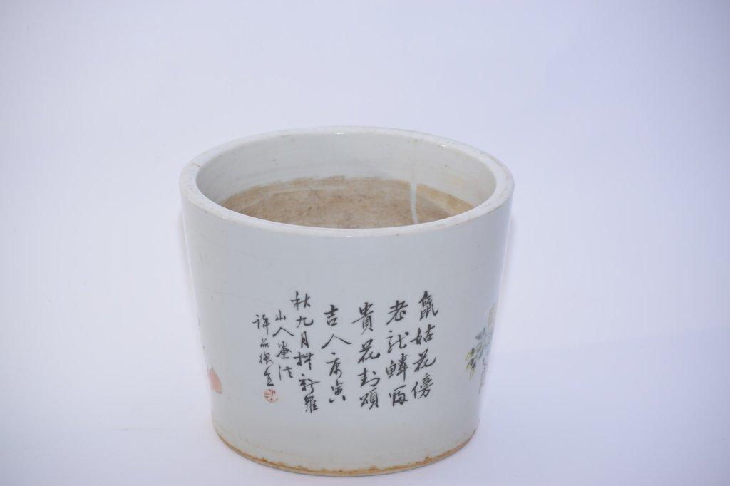 19th C. Chinese Famille Verte Flower Pot, Xu PinHeng - 4