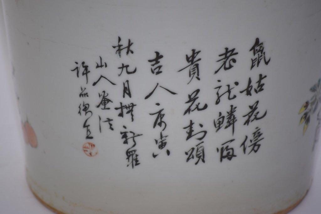 19th C. Chinese Famille Verte Flower Pot, Xu PinHeng - 5
