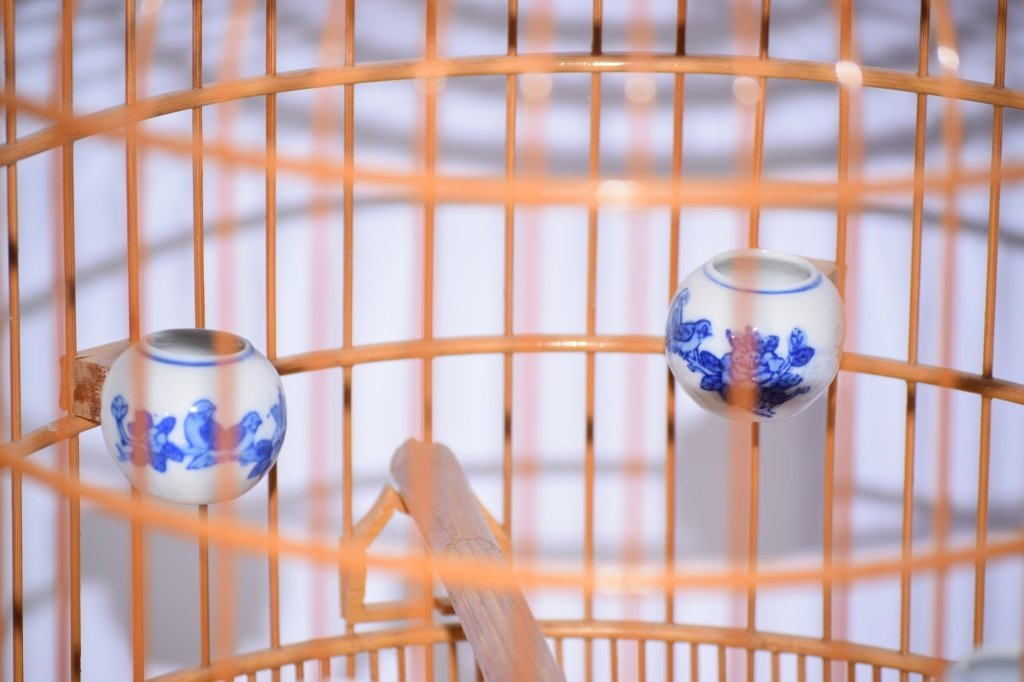 Chinese Bamboo Carved Bird Cage - 5