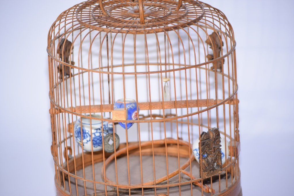 Chinese Bamboo Carved Bird Cage - 2
