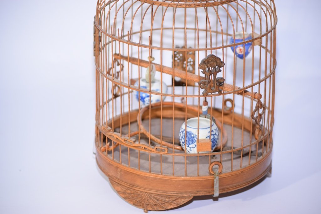 Chinese Bamboo Carved Bird Cage - 3