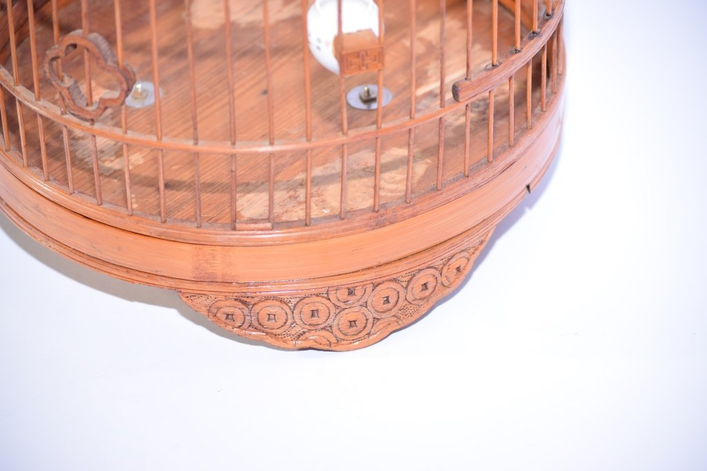 Chinese Bamboo Carved Bird Cage - 4