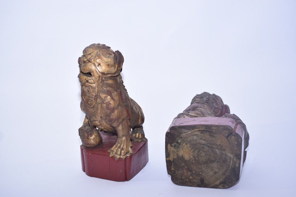 Pair of Qing Chinese Gilt Wood Carved Lions - 10