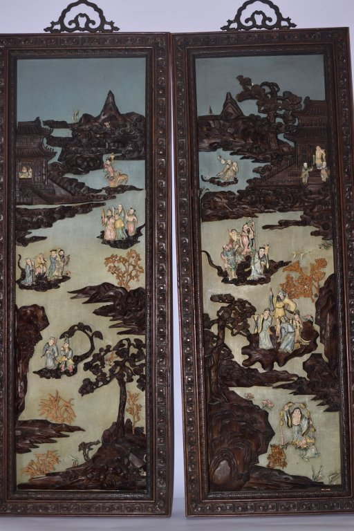 Pair of Chinese Wood Carved Bone Inlaid Panels