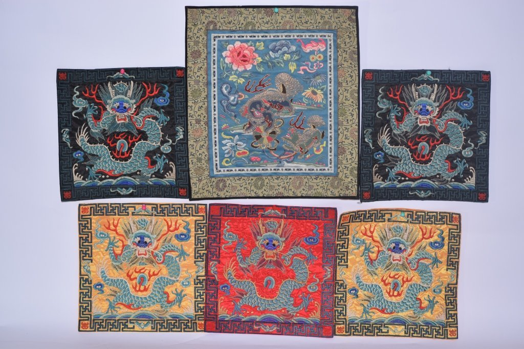 Group of Six Chinese Embroideries