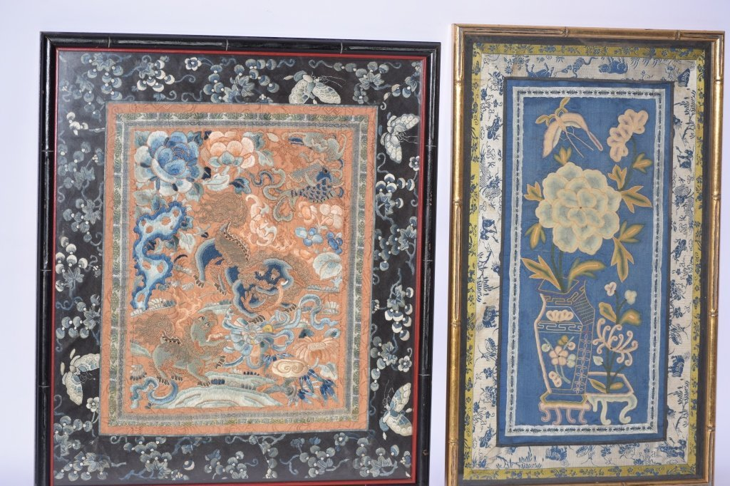 Two Qing Chinese Embroideries in Frame