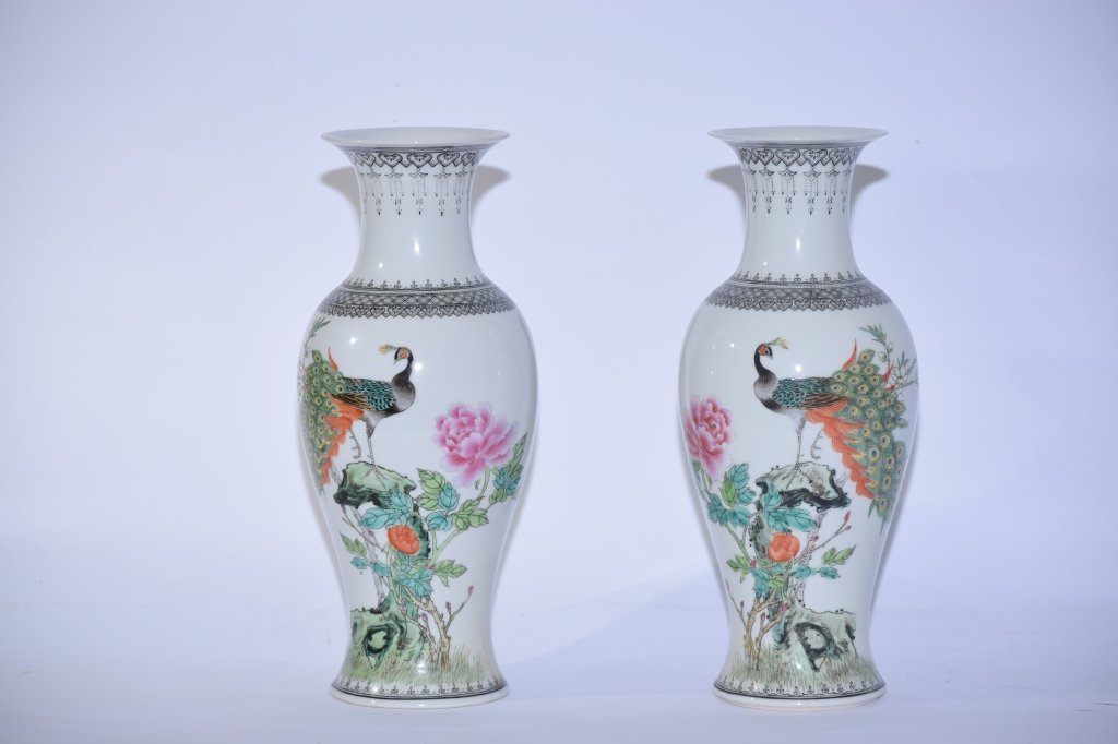 Pair of 20th C. Chinese Famille Rose Vases