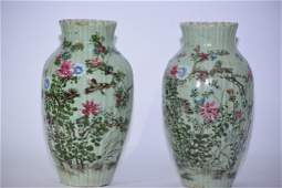 Pair of 1819th C Chinese Pea Glaze Famille Rose