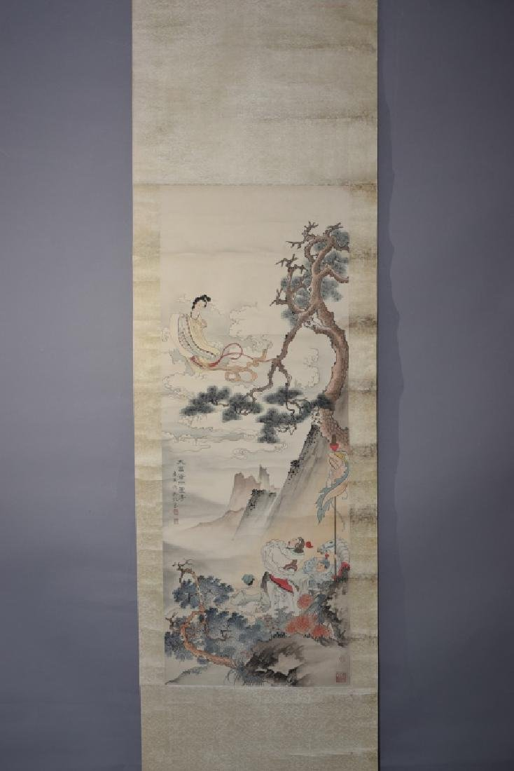 Chinese Watercolor Painting Scroll by Ren ShuaiYin