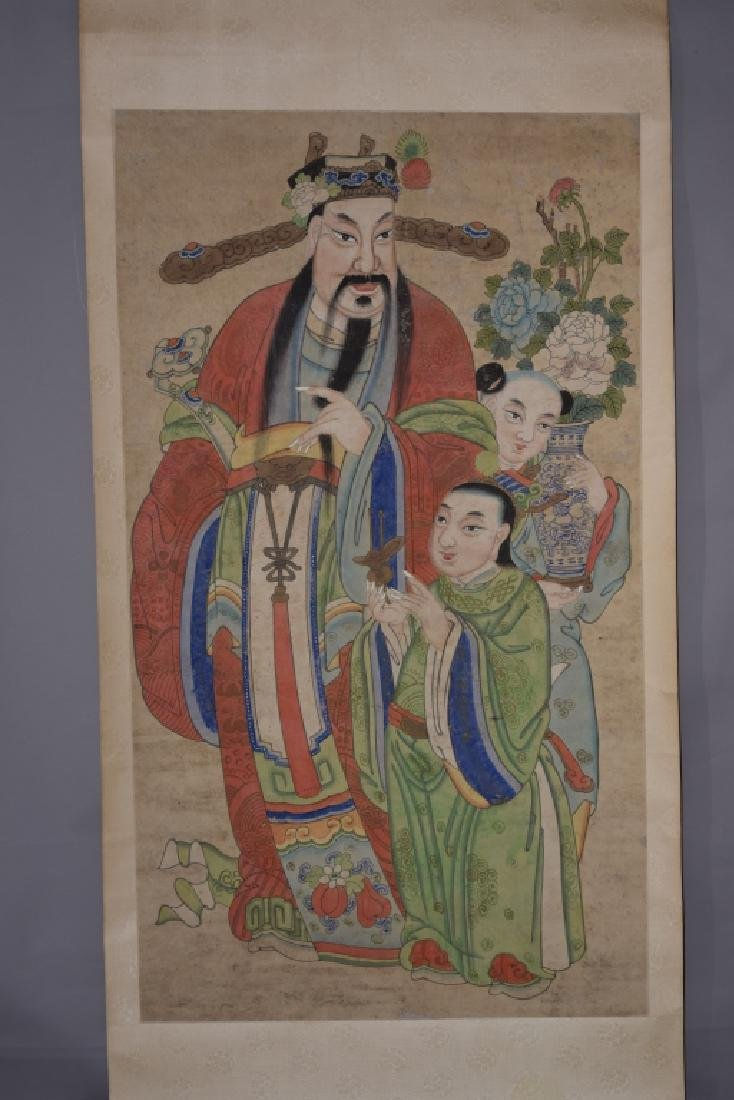 Qing Chinese Watercolor Painting Scroll on Paper