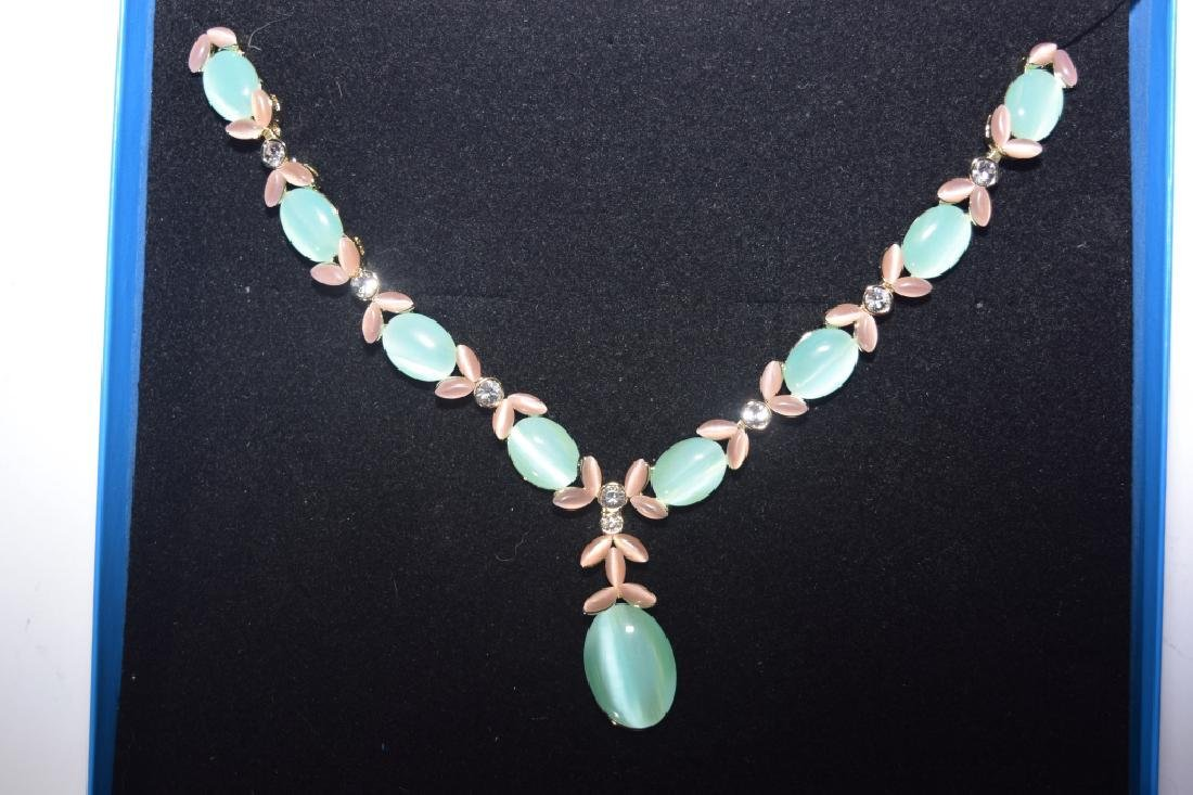 Blue and Pink Moonstone Necklace