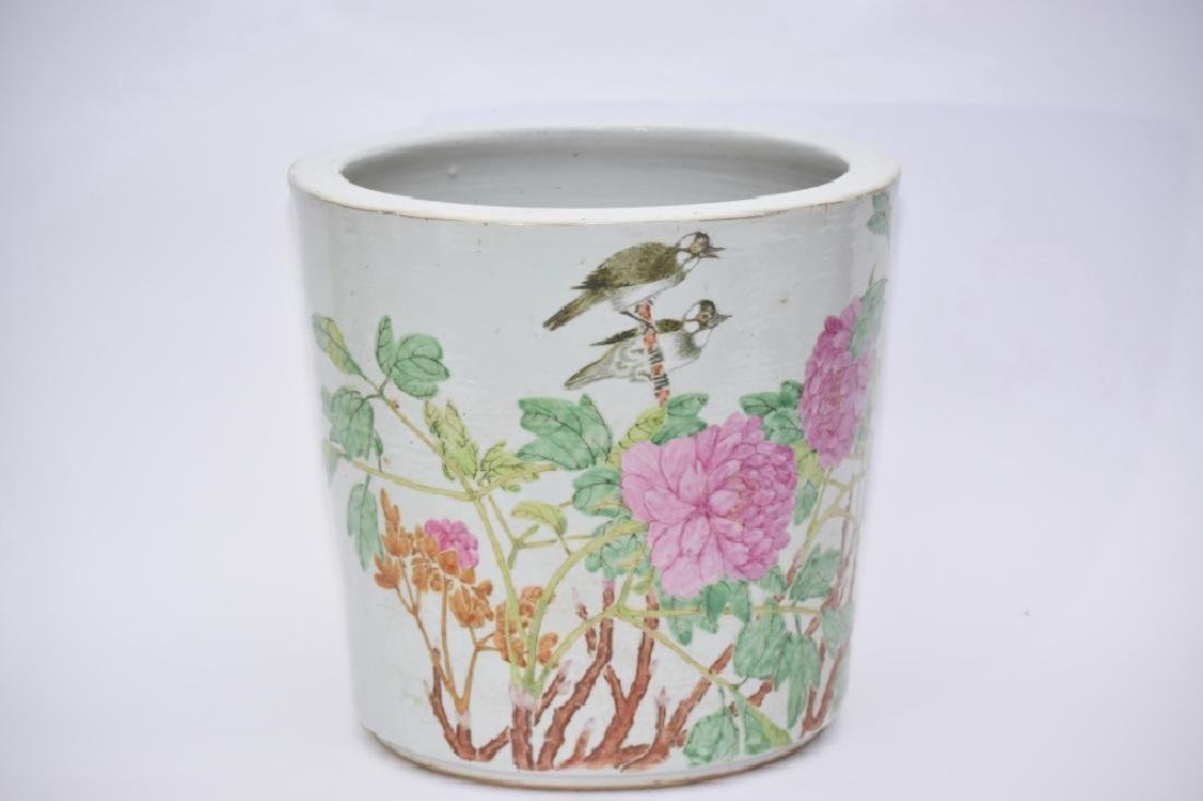 Qing Chinese Famille Verte Flower Pot by Zhang Ziying