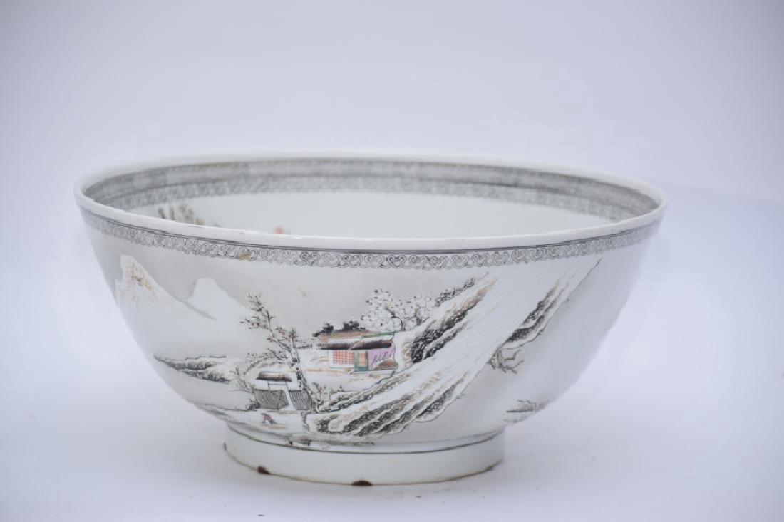 20th C. Chinese Famille Rose Snow Scene Bowl