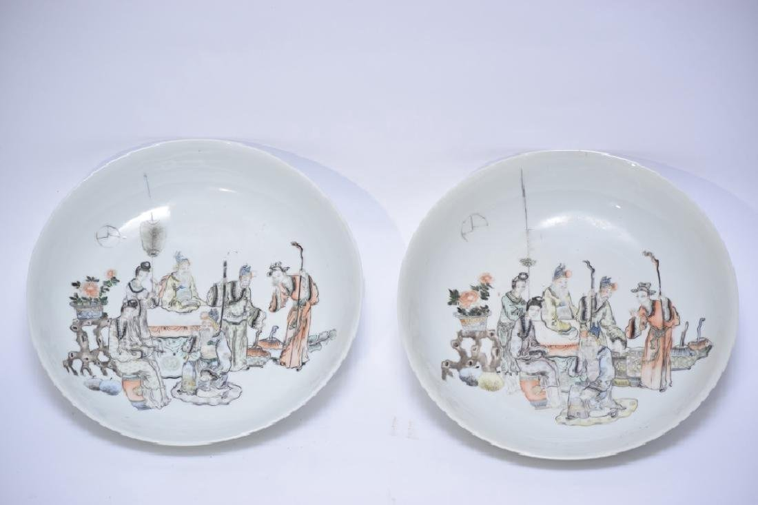 Pair of Late Qing Chinese Famille Verte Plates