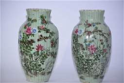 Pair of 18-19th C. Chinese Pea Glaze Famille Roses