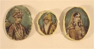 134: Three late 18th /early 19th C. Mogul portraits on