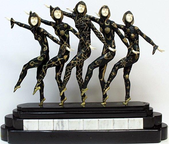 """Course Line"" Bronze & Ivory Sculp. By D.H. Chiparus"