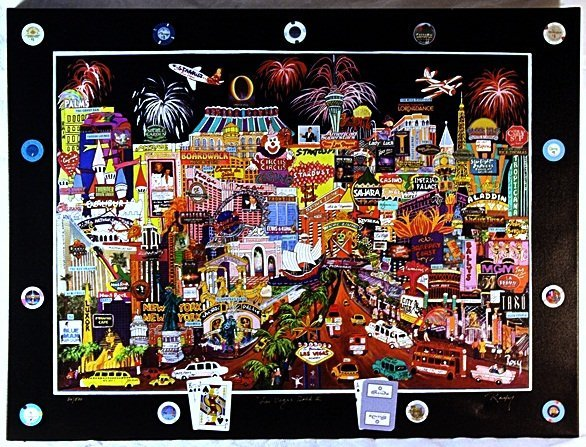 """Giclee on Canvas """"Las Vegas Gold II"""" after Roxy"""