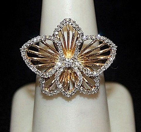 Gorgeous 14kt over Silver Flower Shape Ring with