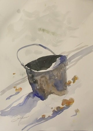 """Original Watercolor on Paper """"The Old Water Bucket"""" by"""