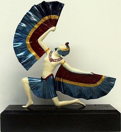"""""""Fan Dancer"""" Bronze Sculpture by D.H. Chiparus"""