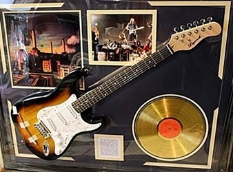 Autographed Pink Floyd Guitar with Gold Record and